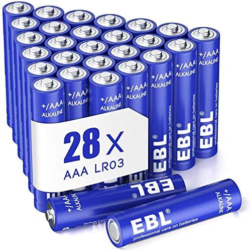 EBL Lot de 28PCS Piles AAA, Piles AAA/ LR03 Alcalines 1,5V Puissantes Stockage 10 Ans, Large Compatibilité pour Dispositifs Quotidiens