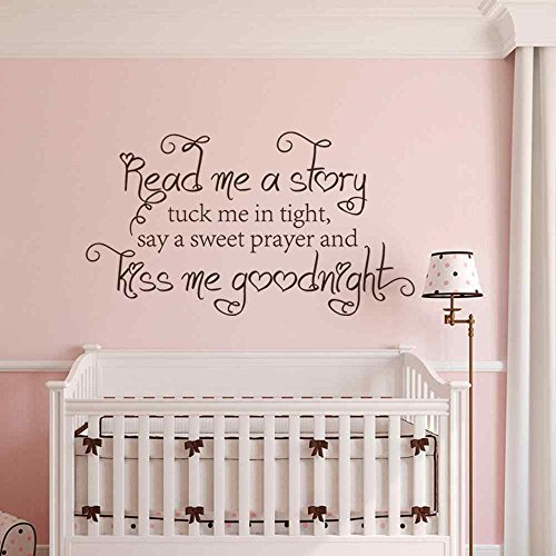 Girls Decal Vinyl Lettering Read me a Story Tuck me in Tight Say a sweet Prayer and Kiss me Goodnight with Butterflies Kids Wall Decor (Dark Brown, 22