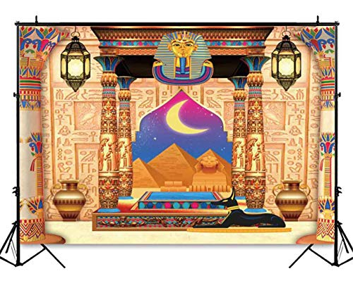 (Funnytree 7x5ft Egyptian Moroccan Arabian Nights Party Backdrop Gold Vintage Birthday Photography Background Baby Shower Decorations Banner Photobooth Photo Studio)
