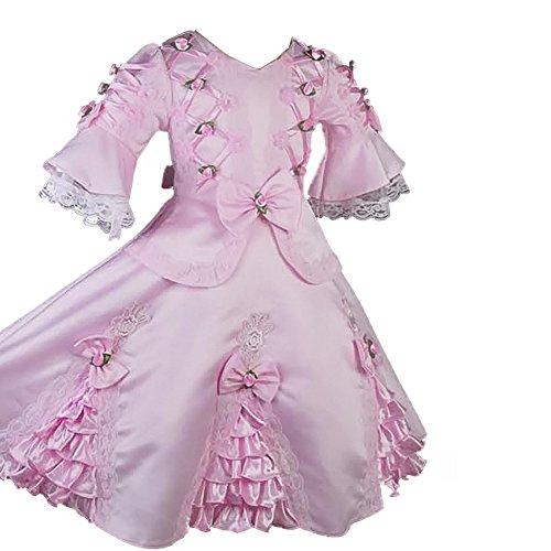 Dressy Daisy Girls Satin Vintage Victorian Dresses Fancy Costume Pageant Flower Girl Dress Size 3-4T Pink]()