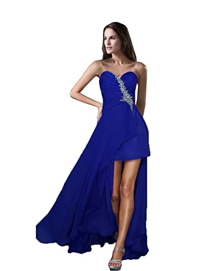 Vimans® Girls Sexy High Low Navy Chiffon Prom Gowns for Graduation
