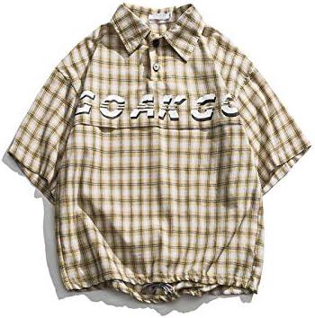 DXHNIIS Pullover Camisa a Cuadros Hombres Botones Delanteros Oversize Camisas para Hombres Carta de Verano Camisas Impresas para Hombres L Camisa de Color Caqui: Amazon.es: Deportes y aire libre