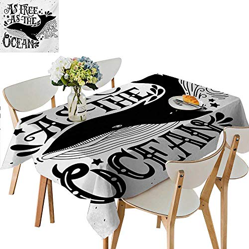 TableCovers&Home Modern Tablecloth,Wild Big Whale Swims As Free As The Oceans Maritime Nautical Art Inspiration Waterproof Spillproof tablecloths for Rectangle Tables,45W x 84.5L Inches Beige Pink ()