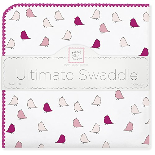 SwaddleDesigns Ultimate Swaddle Blanket, Made in USA, Premium Cotton Flannel, Very Berry Jewel Tone Little Chickies
