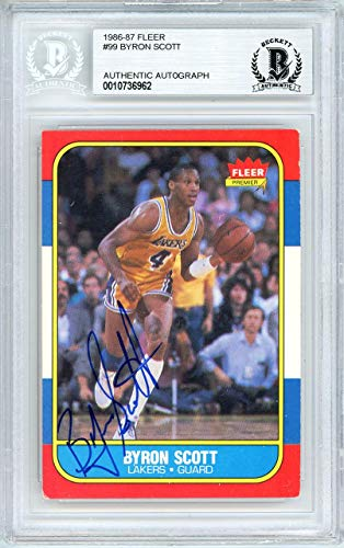 - Byron Scott Autographed 1986 Fleer Card #99 Los Angeles Lakers Beckett BAS #10736962 - Beckett Authentication