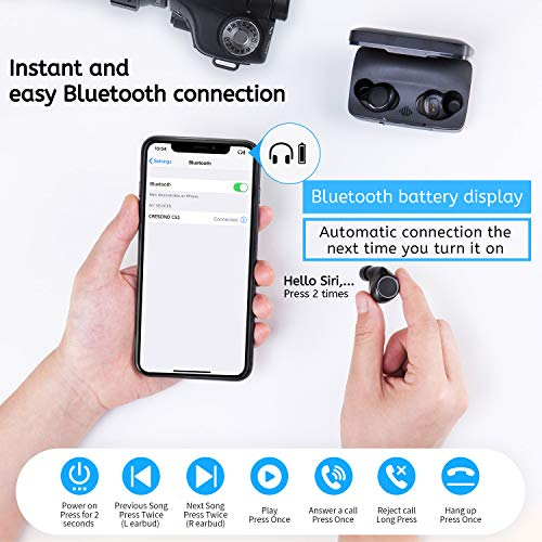 Bluetooth 5.0 Wireless Earbuds, CRESOND CS1 104H Playtime IPX8 Waterproof TWS Stereo Headphones in-Ear Built-in Mic Headset Premium Sound with Deep Bass for Sport with 2600mAh Charging Case