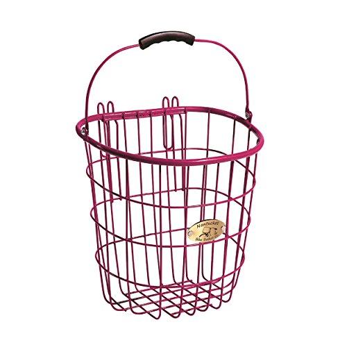 Nantucket Bike Basket Co Surfside Rear Wire Pannier Bag with Hooks, Pink