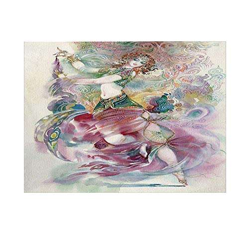 Watercolor Photography Background,Oriental Dance Theme Young Girl Performing in Traditional Costume Fantasy Figure Backdrop for Studio,15x10ft]()
