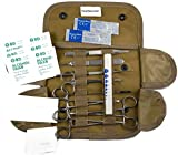 ASATechmed 20 PC U.S. Military Style Surplus Tactical Coyote Sand Emergency Survival Kit - Stop The Bleed Kit - Military Style First Aid Kit - Molle Pouch