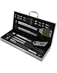 BBQ Grill Tools Set with 16 Barbecue Accessories - Stainless Steel Utensils with Aluminium Case - Complete Outdoor Grilling Kit
