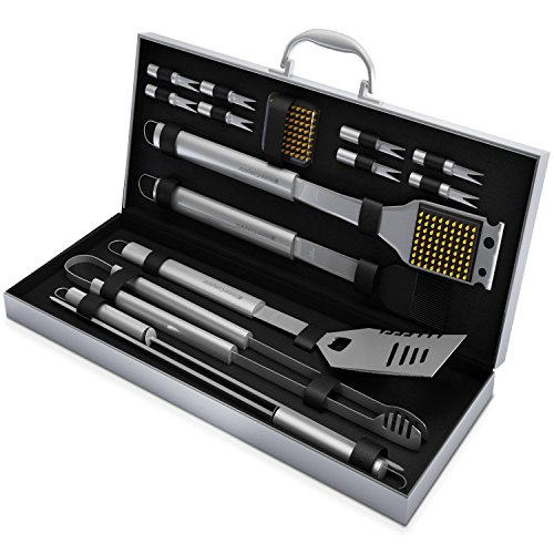 BBQ Grill Tools Set with 16 Barbecue Accessories - Stainless Steel Utensils with Aluminium Case - Complete Outdoor Grilling Kit Aluminium Set