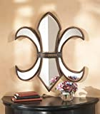 "23"" European-Style Antiqued Fleur-de-Lis Mirror Wall Decor"