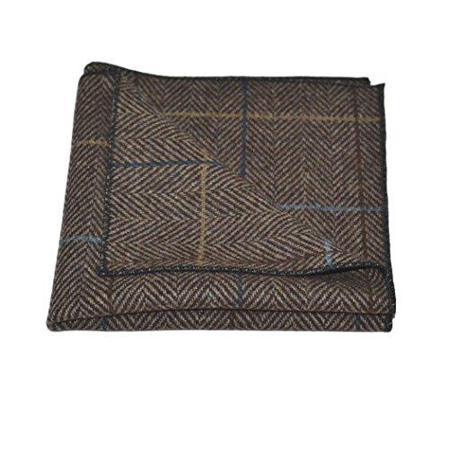 Luxury Walnut Brown Tweed Pocket Square, Handkerchief by King & Priory