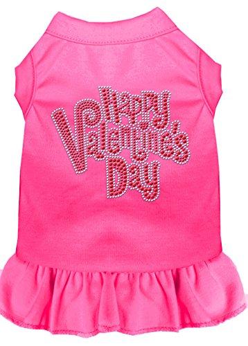 Mirage Pet Products 57-56 XSBPK Pink Happy Valentines Day Rhinestone Dress Bright, X-Small