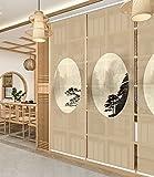 Luckome Art Home - visualización de privacidad Japonesa para Puerta corredera, visualización para Puerta, Coffee, 25' W×72' H