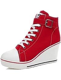 Women's Sneaker High-Heeled Fashion Canvas Shoes High...