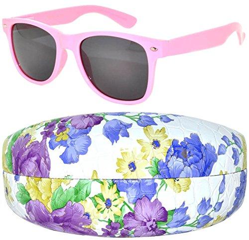 Light Pink Vintage Smoke Lens Sunglasses with Checker Pink - Framed Pink Sunglasses