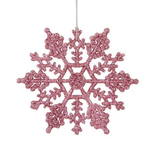 Glitter Snowflake Christmas Ornaments (Club Pack of 24 Bubblegum Pink Glitter Snowflake Christmas Ornaments)