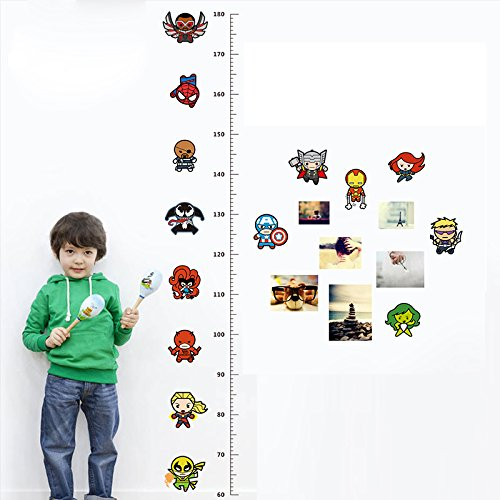 Best Choise Product Avengers Height Measure Chart Wall Stickers for Kids Rooms Decals Art Children Room Decoration Poster Cartoon Boy's Gift