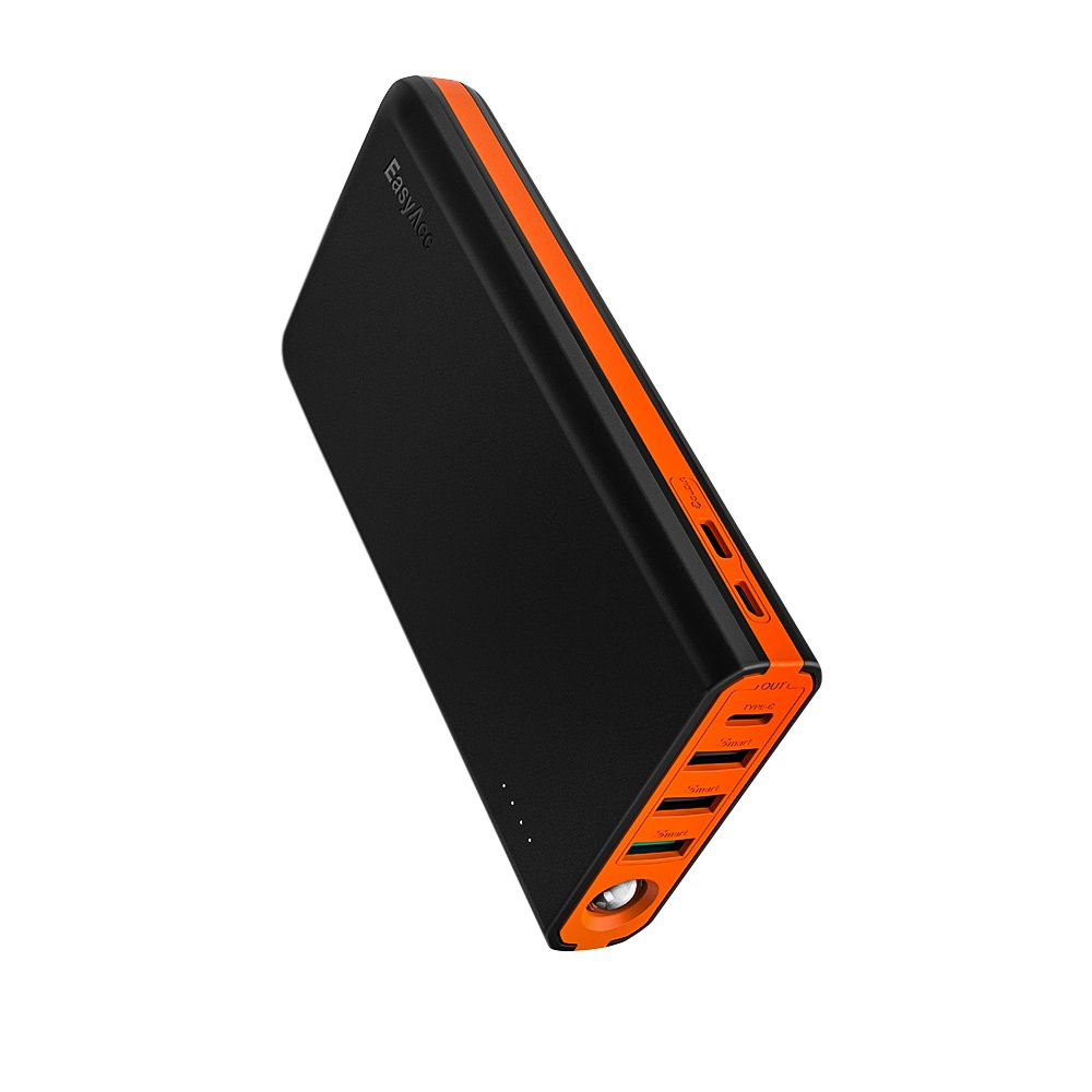 EasyAcc 20000 mAh USB C Portable Charger, QC 3.0 Quick Charge Power Bank with 5A Dual Input, 6A 4-Port Output, Fast Charge External Battery Pack- Black & Orange