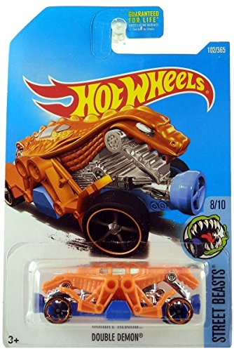 Hot Wheels 2017 Street Beasts Double Demon (Dragon Car) 102/365, Orange - Double Dragon Series