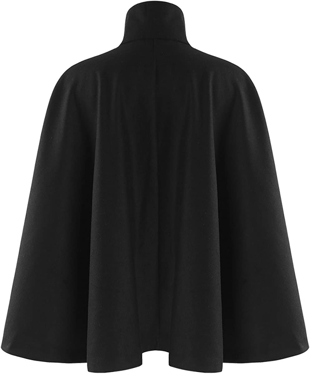 ASMAX HaoDuoYi Womens Casual Cape Style Button Down Jacket with Drawstring Collar