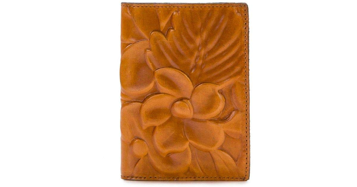 Patricia Nash Peretola Passport Wallet in Gold (tan) Floral Deboss