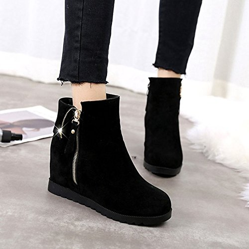 Shoes for Flat Boots Round HSXZ Boots Women's Combat Casual Boots Nubuck Black Toe Black Calf ZHZNVX Mid Heel leather Winter aEABwx