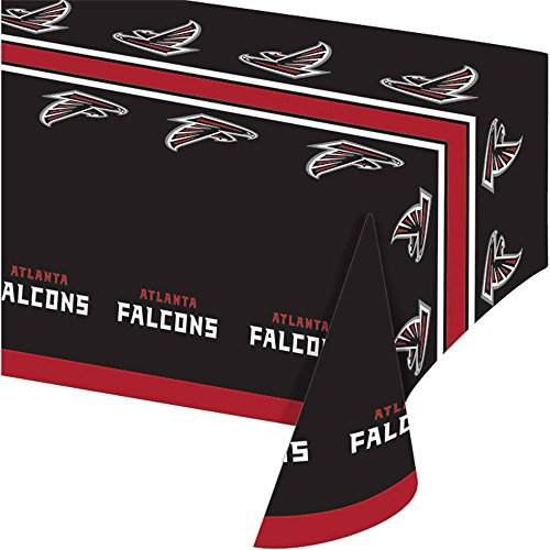 Sports Atlanta Falcons Tabletop (54 X 102 Inch NFL Falcons Tablecloth, Football Themed Rectangle Table Cover Sports Patterned, Team Color Logo Fan Merchandise Athletic Spirit Black Red, Plastic)