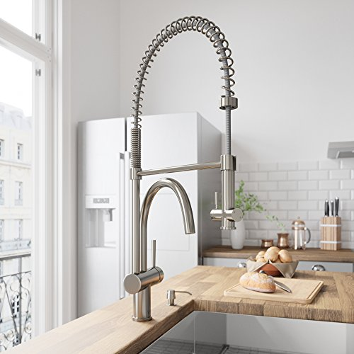 VIGO VG02006STK2 Dresden Single Handle Pull-Down Sprayer Kitchen Sink Faucet with Soap Dispenser, Centerset Single Hole Faucet, Commercial-Style Design, Premium Stainless Steel Finish ()