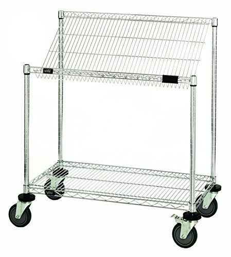 Quantum Storage Systems M2448SL34C 2-Tier Wire Shelving Work Station Cart with Slanted Top Shelf, Chrome Finish, 48'' Width x 24'' Length x 40'' Height