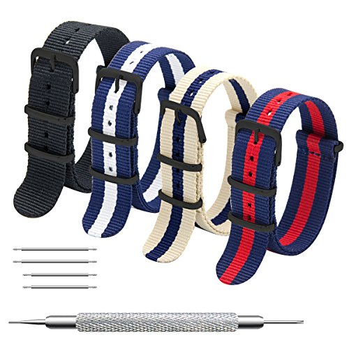 Nato Strap 4 Packs - 20mm 22mm Premium Ballistic Nylon Watch Bands Zulu Style ((Black buckle)Black+Navy Red+Linen Navy+Navy White, - Your Mens Style Find