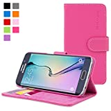 Galaxy S6 Edge Case, Snugg Hot Pink Leather Flip Case [Card Slots] Executive Samsung Galaxy S6 Edge Wallet Case Cover and Stand [Lifetime Guarantee] - Legacy Series