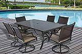 Pebble Lane Living 7pc Outdoor Premium Aluminum and Wicker Patio Dining Set