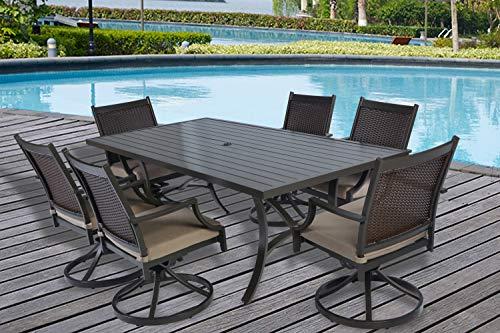 (Pebble Lane Living 7pc Outdoor Premium Aluminum and Wicker Patio Dining Set )