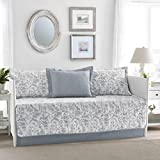 Laura Ashley Amberley Blue 5-Piece Daybed Cover Set, Twin, Soft Blue