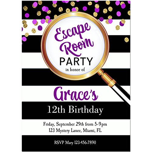 Amazon purple escape room invitations with any wording purple escape room invitations with any wording printed or printable escape room mystery stopboris Images