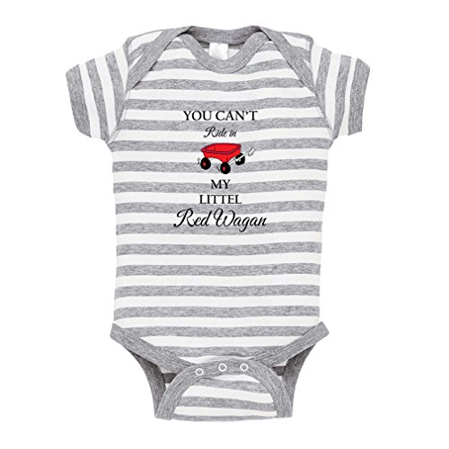 Cute Rascals You Can't Ride in My Little Red Wagon Baby Kid Stripe Fine Jersey Bodysuit Grey 18 Months from Cute Rascals