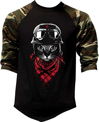 Men's Aviator Pilot Cat Tee Black/Camo Raglan Baseball T-Shirt Large Black/Camo