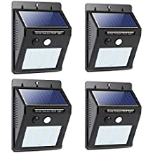 Solar Light Outdoor Bright 16 LED Solar Power Led Security Lights with Motion Sensor Wireless Waterproof Wall Lights for Home, Driveway, Patio, Deck, Yard, Garden,Auto on/off (4 Pack)
