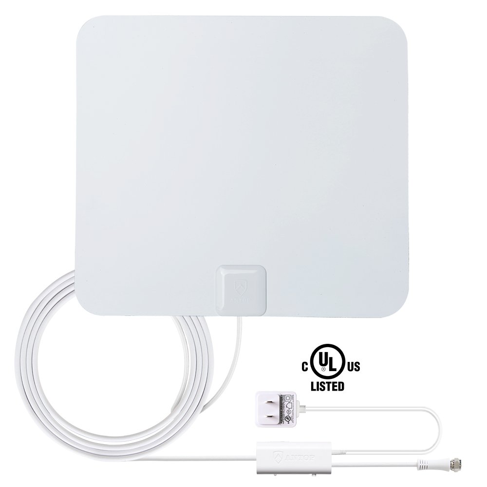 Digital TV Antenna-ANTOP Indoor HDTV Antenna 50 Miles Range with Amplifier, 4G Filter, NOISE-FREE Reception, 10 ft High Performance Coax Cable, Paper Thin, White/Black(AT-100B)