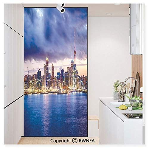 Window Film Door Sticker Glass Film Auckland The Biggest City in New Zealand Waterfront Travel Destination Both Suitable for Home and Office, 17.7 x 78.7 inch,Navy Blue Pale Yellow