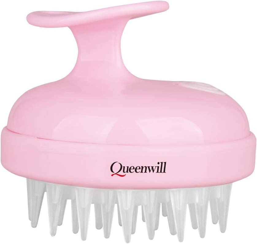 Queenwill H01 Masseur de Cheveux Main 2 Mode Peigne de Vibration Doux Massage du Cuir chevelu pour Cheveux Profonds et Tête Muscle Relax Alimenté par Piles Rose