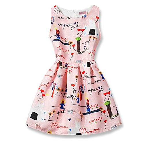 FTSUCQ Girls Sleeveless Vintage Print Swing Butterfly Dresses,Pink - Seattle Shopping Outlet