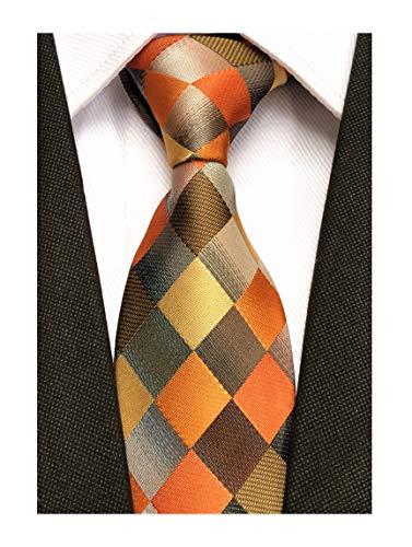 - Men Yellow Orange Grey Plaid Silk Ties Checks Fashionable Colorfu Autumn Necktie