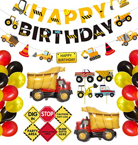 Ultimate Construction Party Supplies, 68 Pack Dump Truck Theme Birthday Decoration Kit for Boys, with Cake Toppers, Happy Birthday Banner, Balloons, Signs, Decors - PartyBuzz