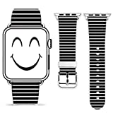 For Apple Watch Band 42mm,Gifun 42mm Leather Band Replacement Fashion Band for Apple Watch Iwatch Series 3 Series 2 Series 1 42mm - White and Black Graph Pattern
