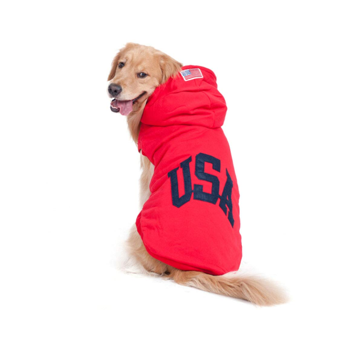 Red letters 24 Guyuexuan Little Dog Dog Clothes Large Dog with Autumn and Winter Warm Dog Vest golden Hair Satsuma Husky Big Dog bluee Letter Sportswear 20  Fashion (color   Red Stripes, Size   28 )