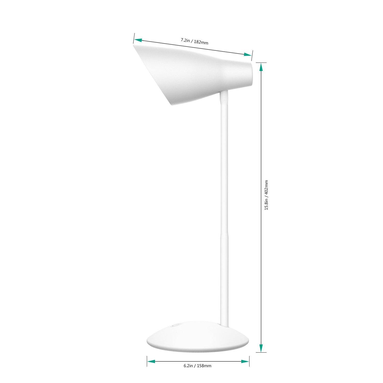 LT-ST13 AUKEY Ajuste de la luminosidad de Bombilla LED Protege los Ojos Control por Toque Cuello Flexible para Leer y Trabajar Blanco alimentada por Puerto USB L/ámpara de Mesa 4,8/W