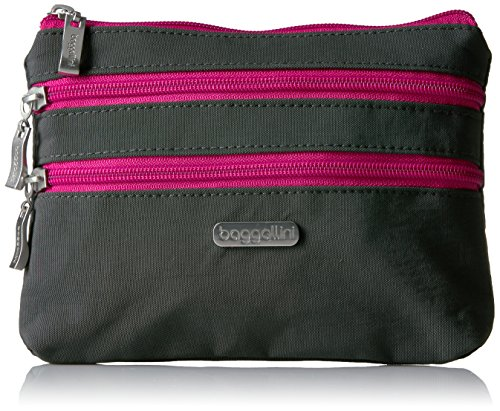 Baggallini 3 Zip Cosmetic Case, Charcoal/Fuchsia